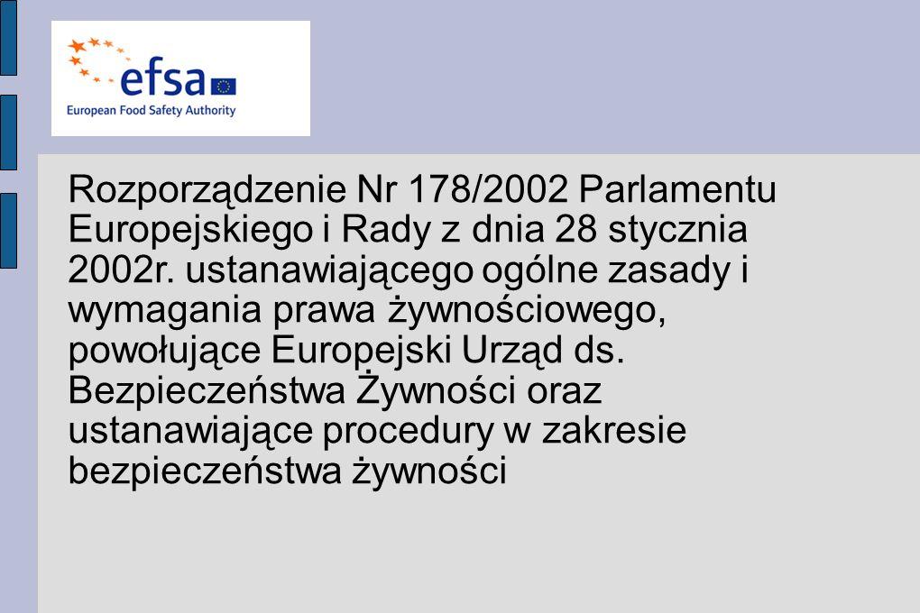 Rozporządzenie Nr 178/2002 Parlamentu Europejskiego i Rady z dnia 28 stycznia 2002r. ustanawiającego ogólne zasady i wymagania prawa żywnościowego, powołujące Europejski Urząd ds. Bezpieczeństwa Żywności oraz ustanawiające procedury w zakresie bezpieczeństwa żywności