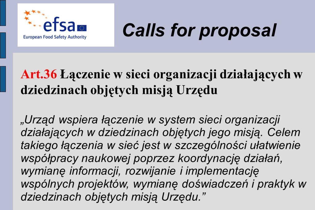 Calls for proposal Art.36 Łączenie w sieci organizacji działających w dziedzinach objętych misją Urzędu.