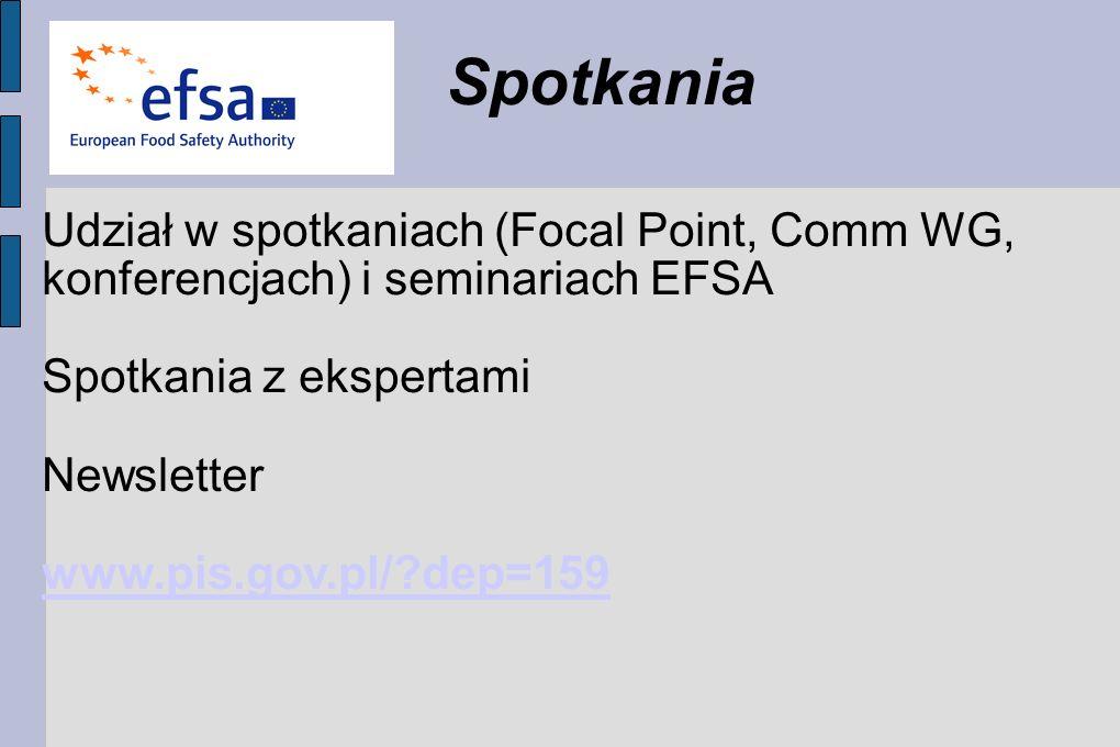 Spotkania Udział w spotkaniach (Focal Point, Comm WG, konferencjach) i seminariach EFSA. Spotkania z ekspertami.