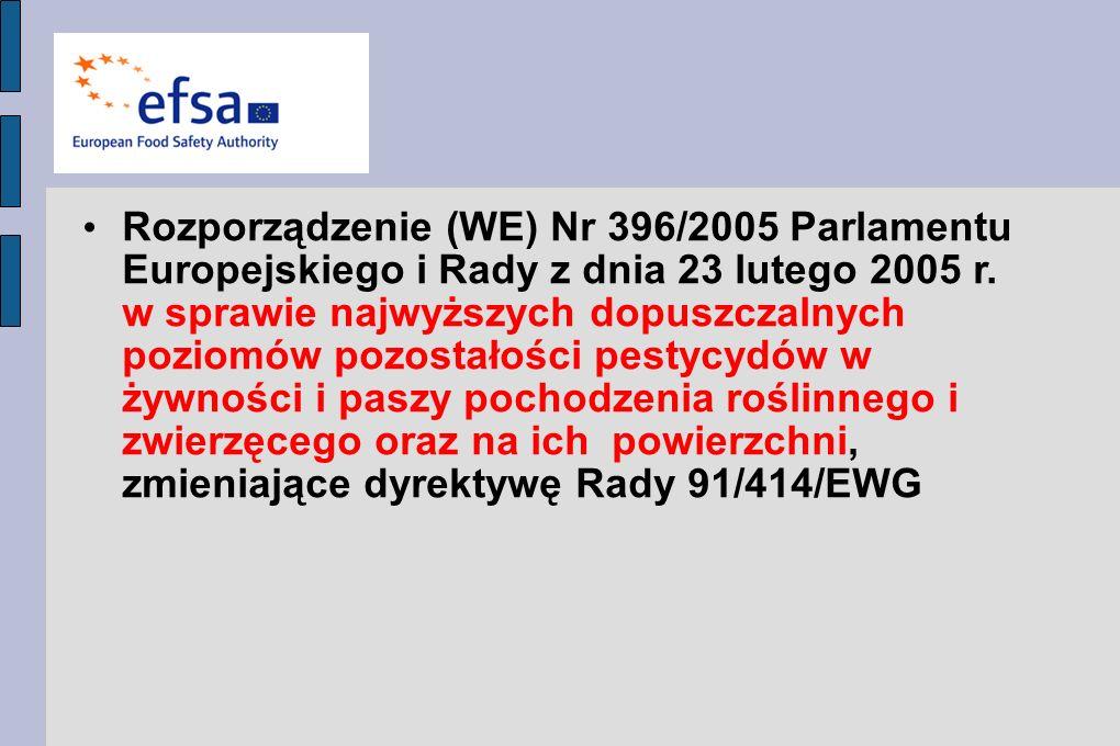 Rozporządzenie (WE) Nr 396/2005 Parlamentu Europejskiego i Rady z dnia 23 lutego 2005 r.