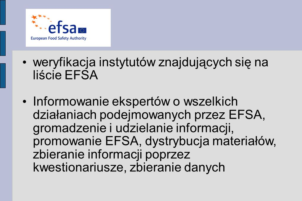 weryfikacja instytutów znajdujących się na liście EFSA