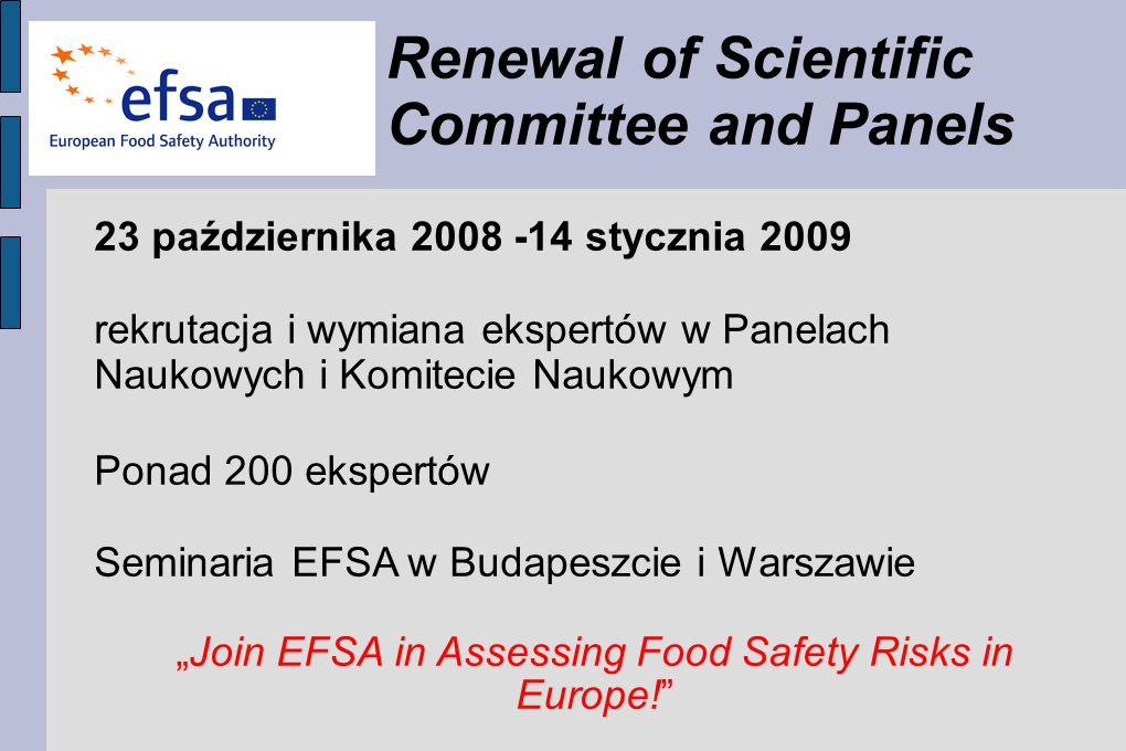 """Join EFSA in Assessing Food Safety Risks in Europe!"