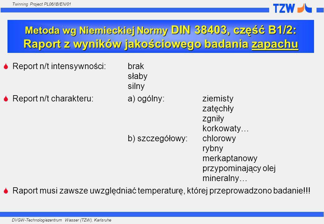 Metoda wg Niemieckiej Normy DIN 38403, część B1/2: Raport z wyników jakościowego badania zapachu