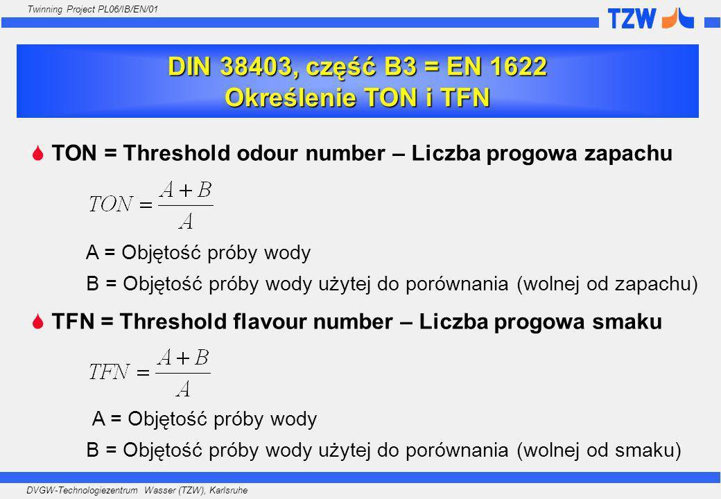 DIN 38403, część B3 = EN 1622 Określenie TON i TFN
