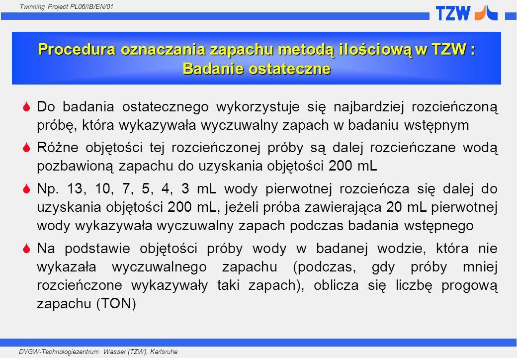 Procedura oznaczania zapachu metodą ilościową w TZW : Badanie ostateczne