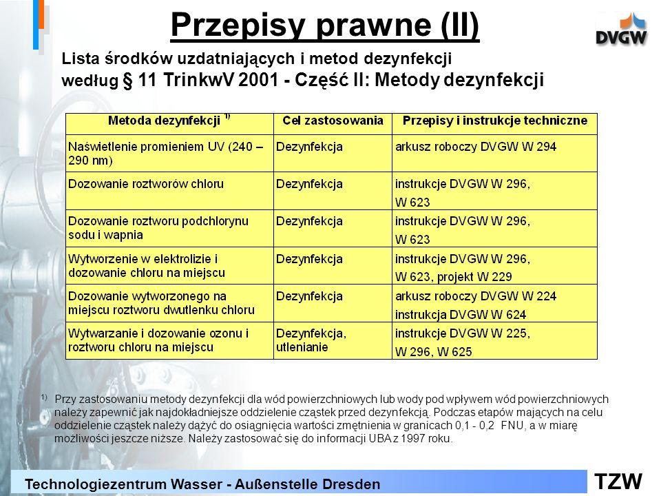 Przepisy prawne (II) Lista środków uzdatniających i metod dezynfekcji