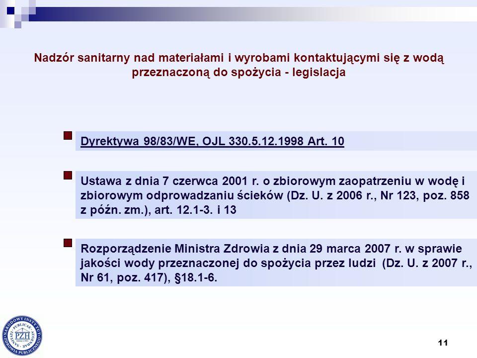 Nadzór sanitarny nad materiałami i wyrobami kontaktującymi się z wodą przeznaczoną do spożycia - legislacja