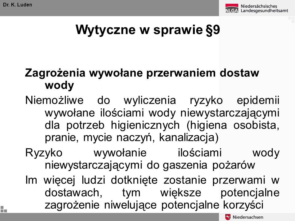 Wytyczne w sprawie §9 Zagrożenia wywołane przerwaniem dostaw wody