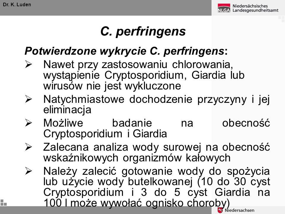 C. perfringens Potwierdzone wykrycie C. perfringens: