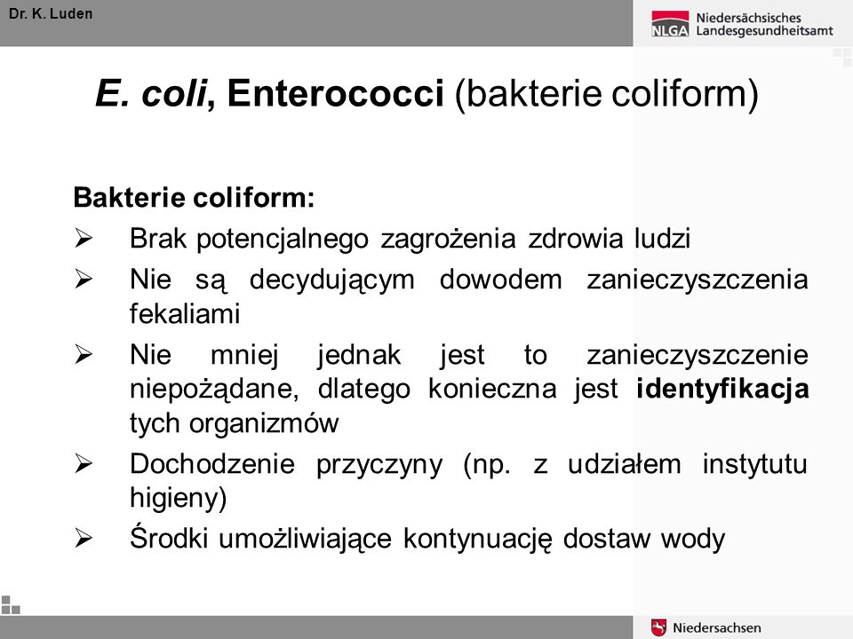 E. coli, Enterococci (bakterie coliform)