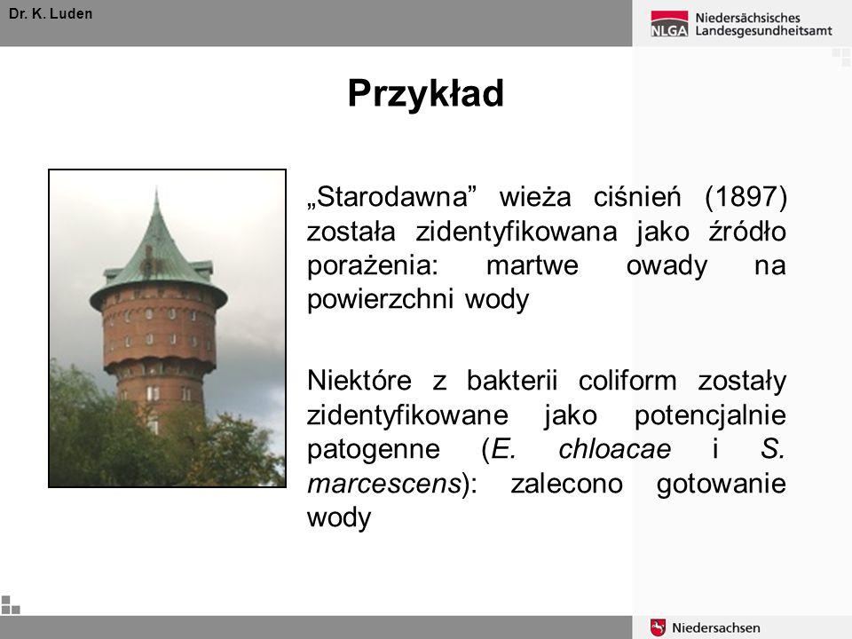 """Dr. K. Luden Przykład. """"Starodawna wieża ciśnień (1897) została zidentyfikowana jako źródło porażenia: martwe owady na powierzchni wody."""