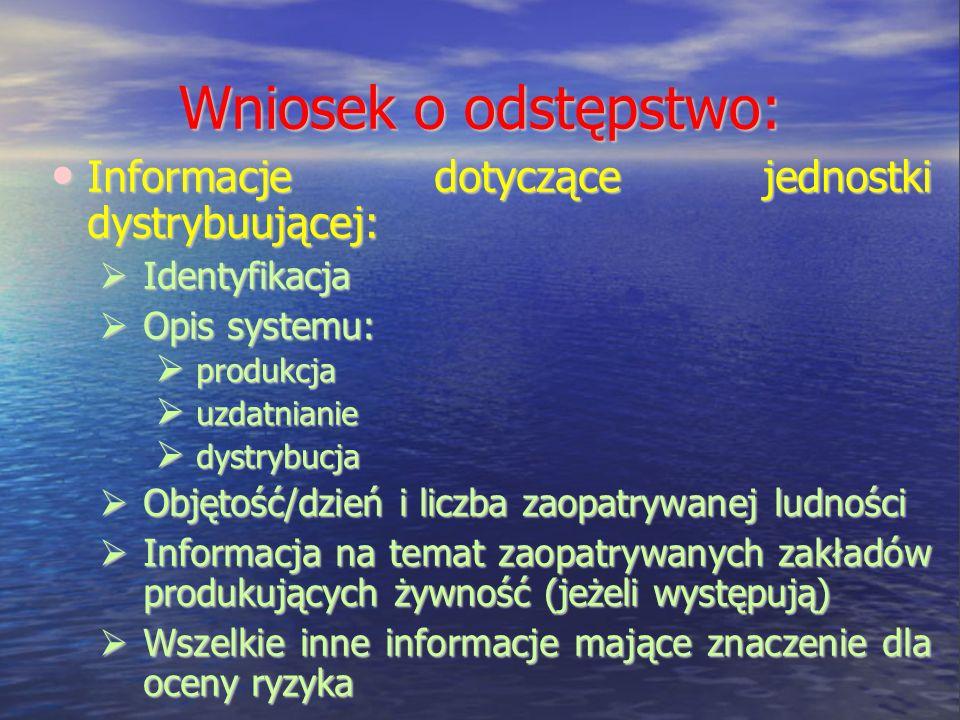 Wniosek o odstępstwo: Informacje dotyczące jednostki dystrybuującej: