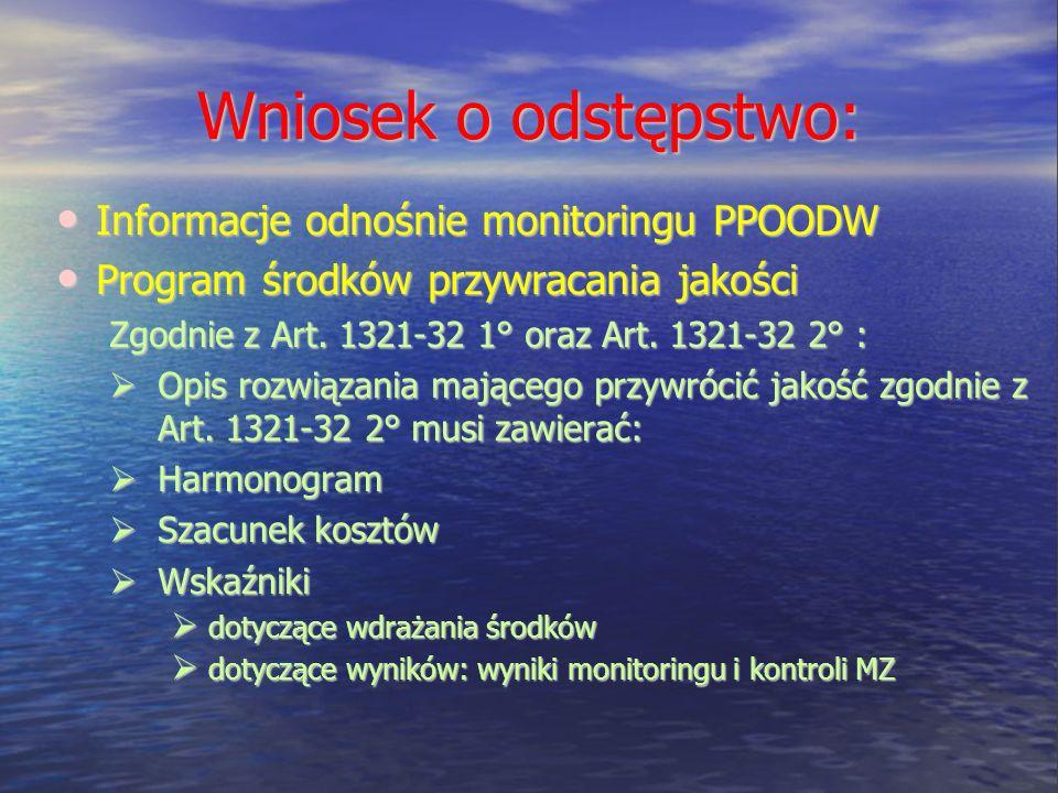 Wniosek o odstępstwo: Informacje odnośnie monitoringu PPOODW
