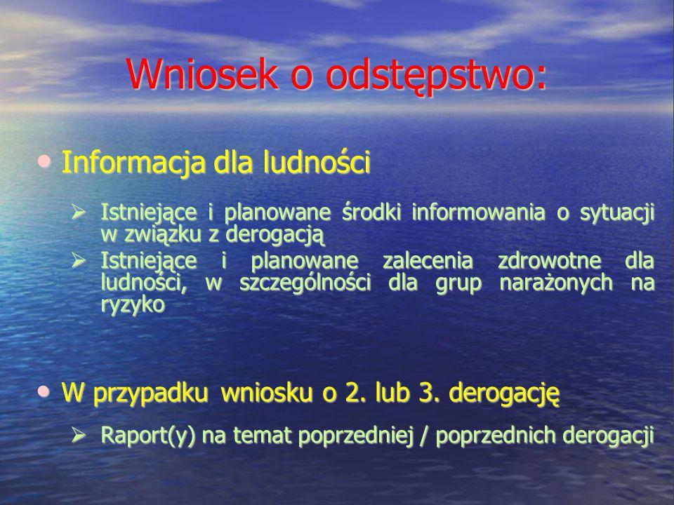 Wniosek o odstępstwo: Informacja dla ludności