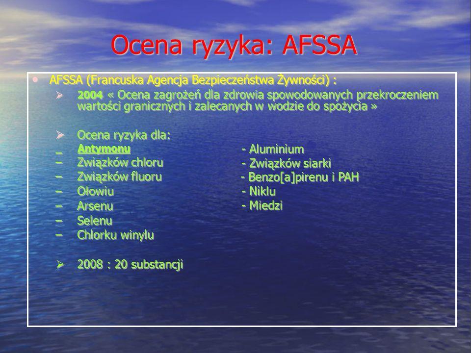 Ocena ryzyka: AFSSA AFSSA (Francuska Agencja Bezpieczeństwa Żywności) :