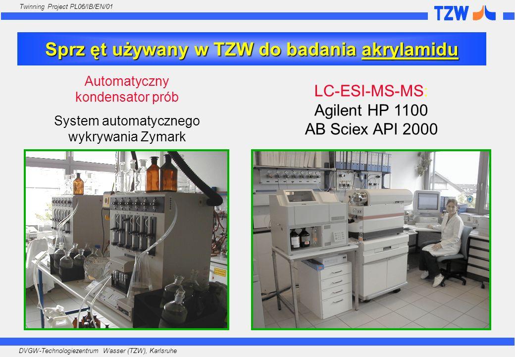 Sprz ęt używany w TZW do badania akrylamidu