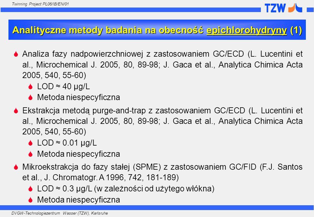 Analityczne metody badania na obecność epichlorohydryny (1)