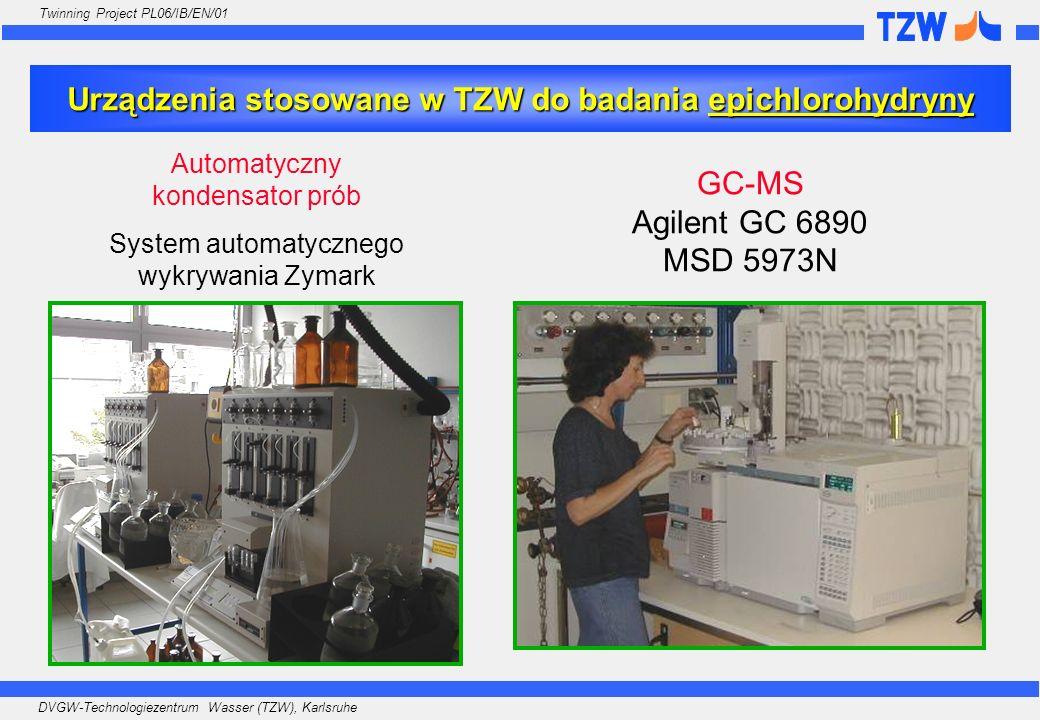 Urządzenia stosowane w TZW do badania epichlorohydryny