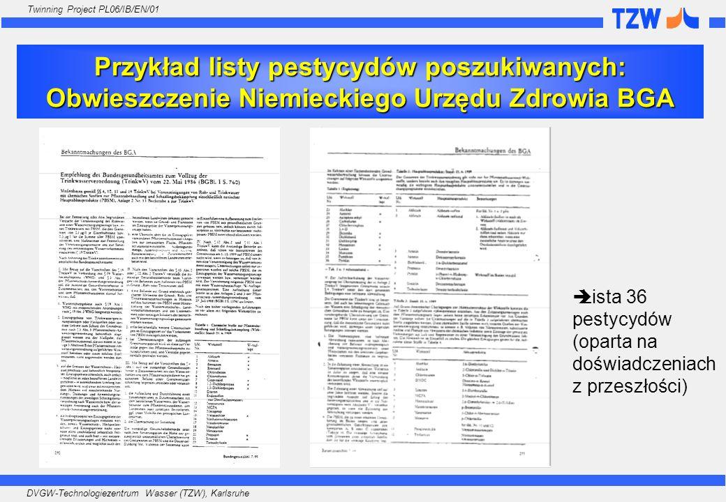 Przykład listy pestycydów poszukiwanych: Obwieszczenie Niemieckiego Urzędu Zdrowia BGA
