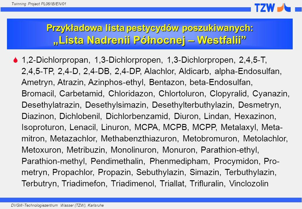 """Przykładowa lista pestycydów poszukiwanych: """"Lista Nadrenii Północnej – Westfalii"""