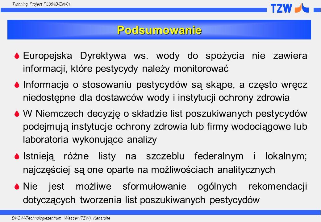 Podsumowanie Europejska Dyrektywa ws. wody do spożycia nie zawiera informacji, które pestycydy należy monitorować.