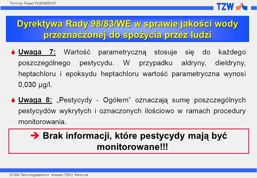 Brak informacji, które pestycydy mają być monitorowane!!!