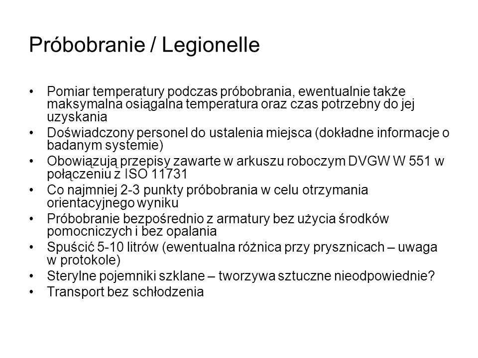 Próbobranie / Legionelle