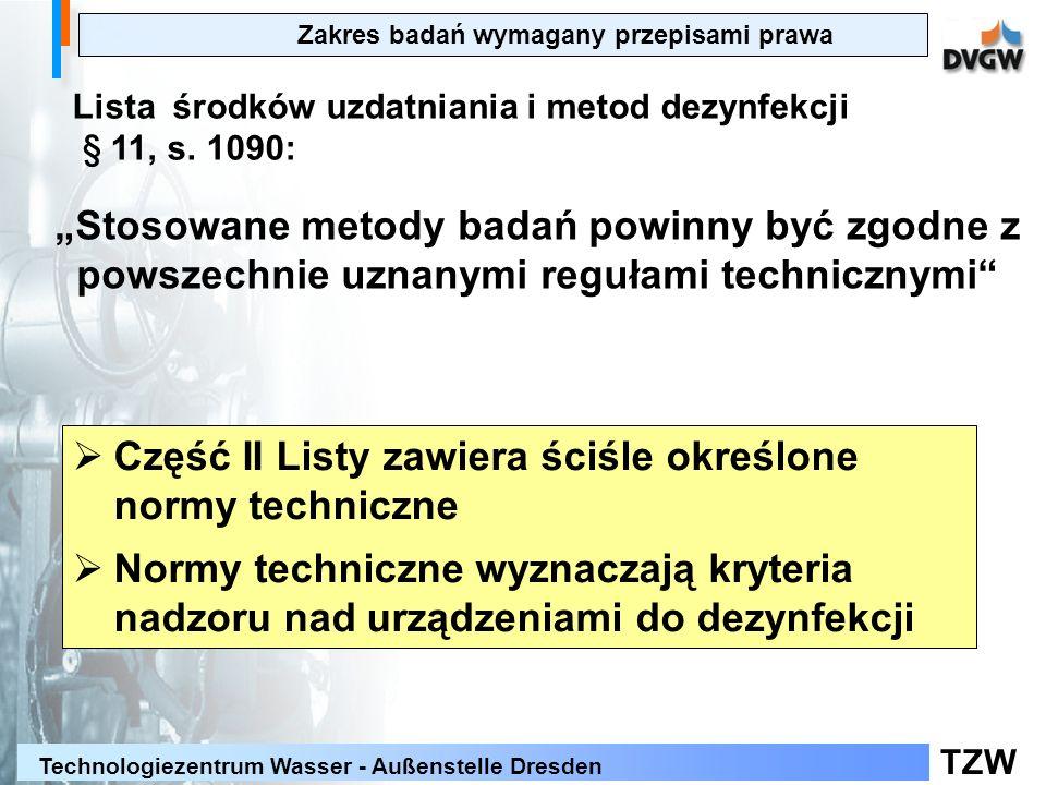 Część II Listy zawiera ściśle określone normy techniczne