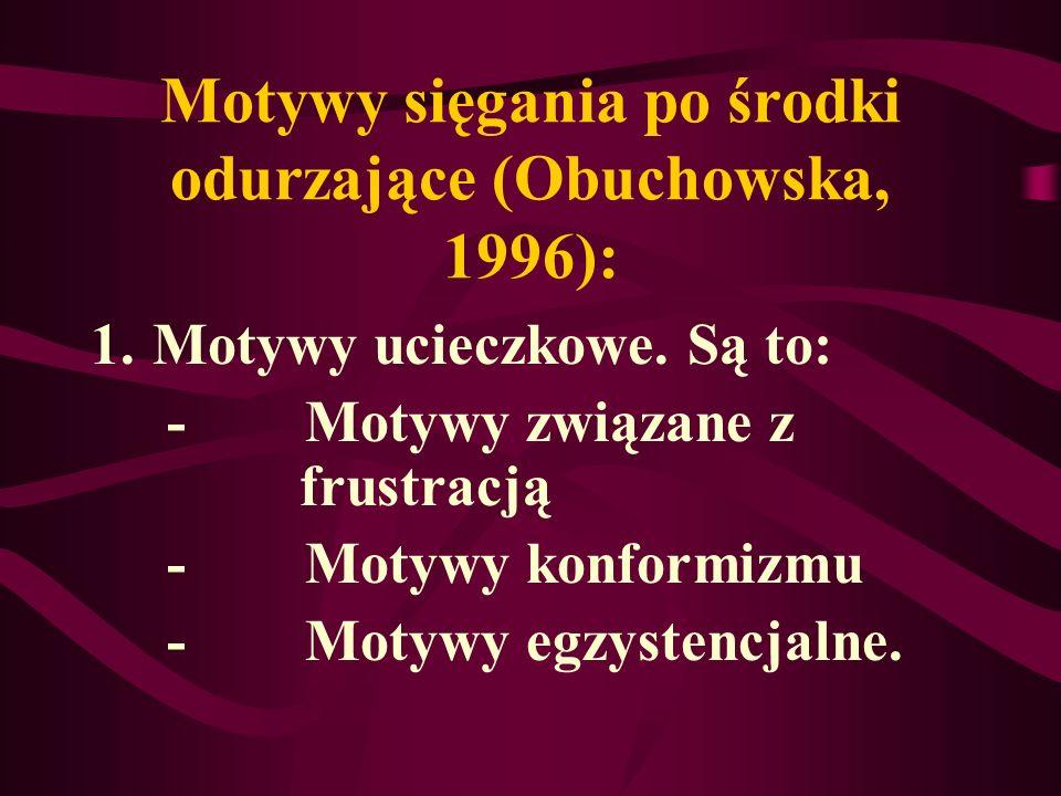 Motywy sięgania po środki odurzające (Obuchowska, 1996):