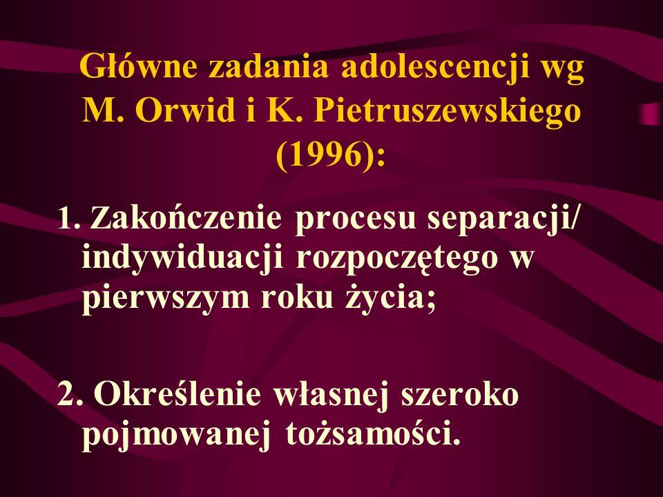 Główne zadania adolescencji wg M. Orwid i K. Pietruszewskiego (1996):
