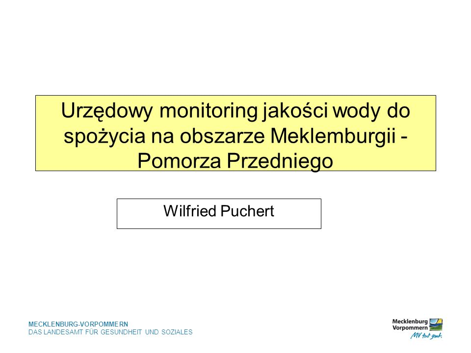 Urzędowy monitoring jakości wody do spożycia na obszarze Meklemburgii - Pomorza Przedniego
