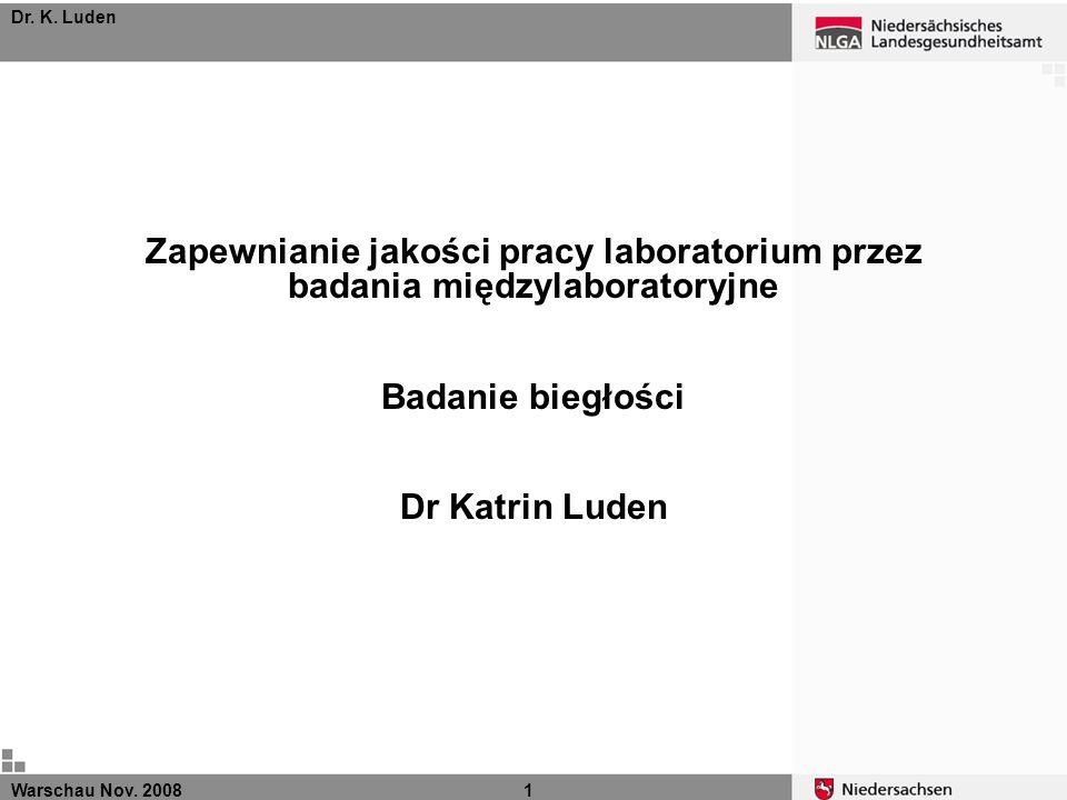 Dr. K. Luden Zapewnianie jakości pracy laboratorium przez badania międzylaboratoryjne. Badanie biegłości.