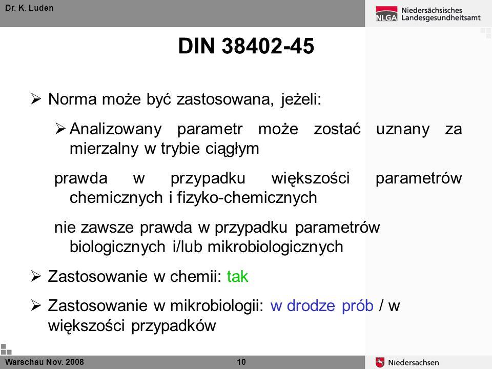 DIN 38402-45 Norma może być zastosowana, jeżeli:
