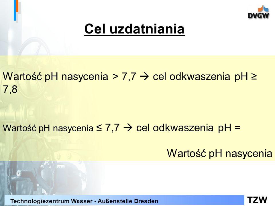 Cel uzdatniania Wartość pH nasycenia > 7,7  cel odkwaszenia pH ≥ 7,8. Wartość pH nasycenia ≤ 7,7  cel odkwaszenia pH =