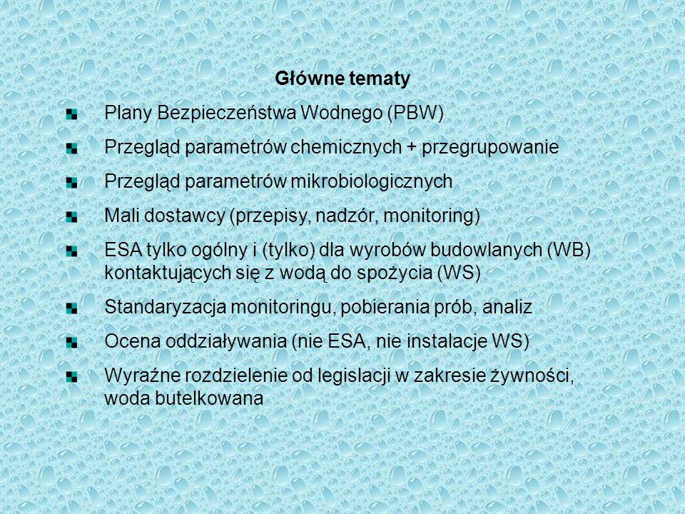 Główne tematyPlany Bezpieczeństwa Wodnego (PBW) Przegląd parametrów chemicznych + przegrupowanie. Przegląd parametrów mikrobiologicznych.