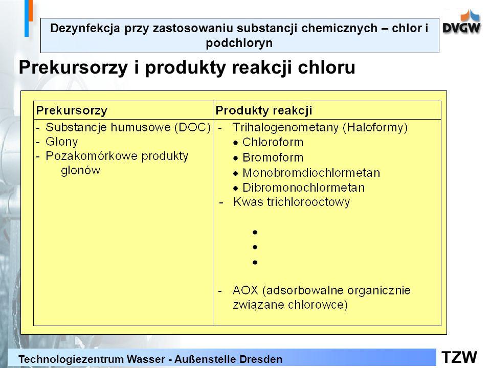Prekursorzy i produkty reakcji chloru