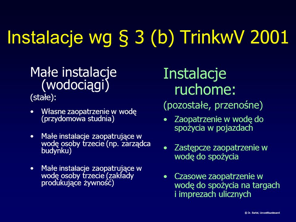 Instalacje wg § 3 (b) TrinkwV 2001