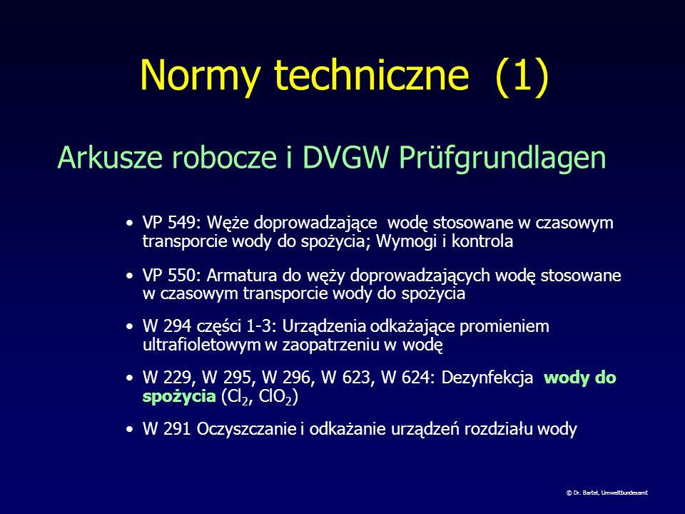 Normy techniczne (1) Arkusze robocze i DVGW Prüfgrundlagen