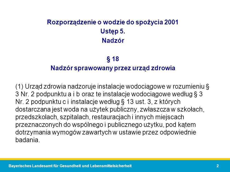 Rozporządzenie o wodzie do spożycia 2001 Ustęp 5. Nadzór § 18