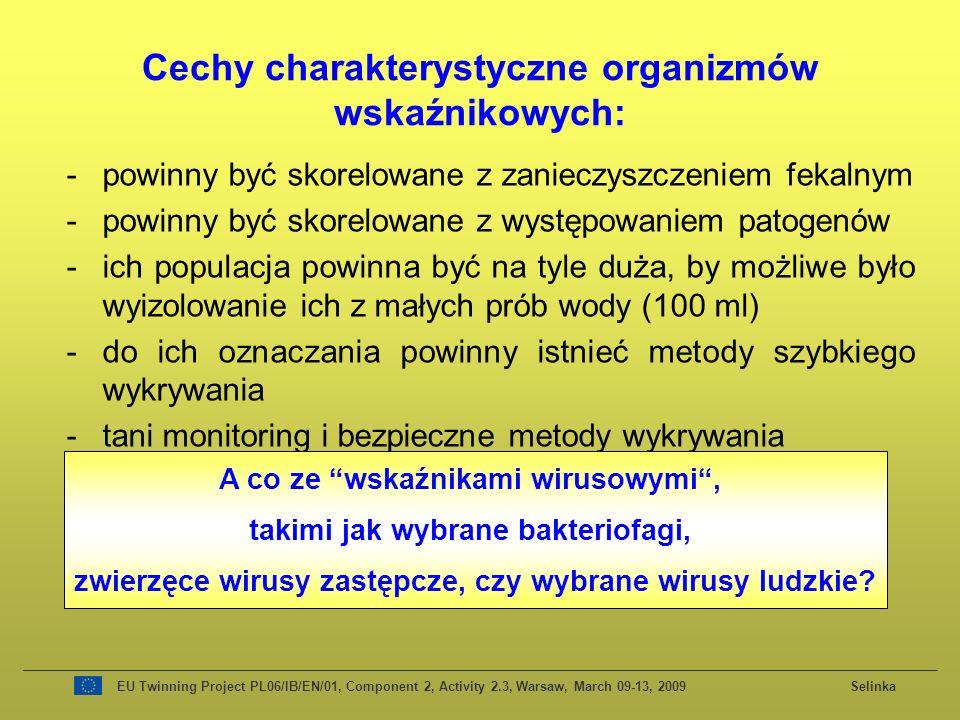 Cechy charakterystyczne organizmów wskaźnikowych: