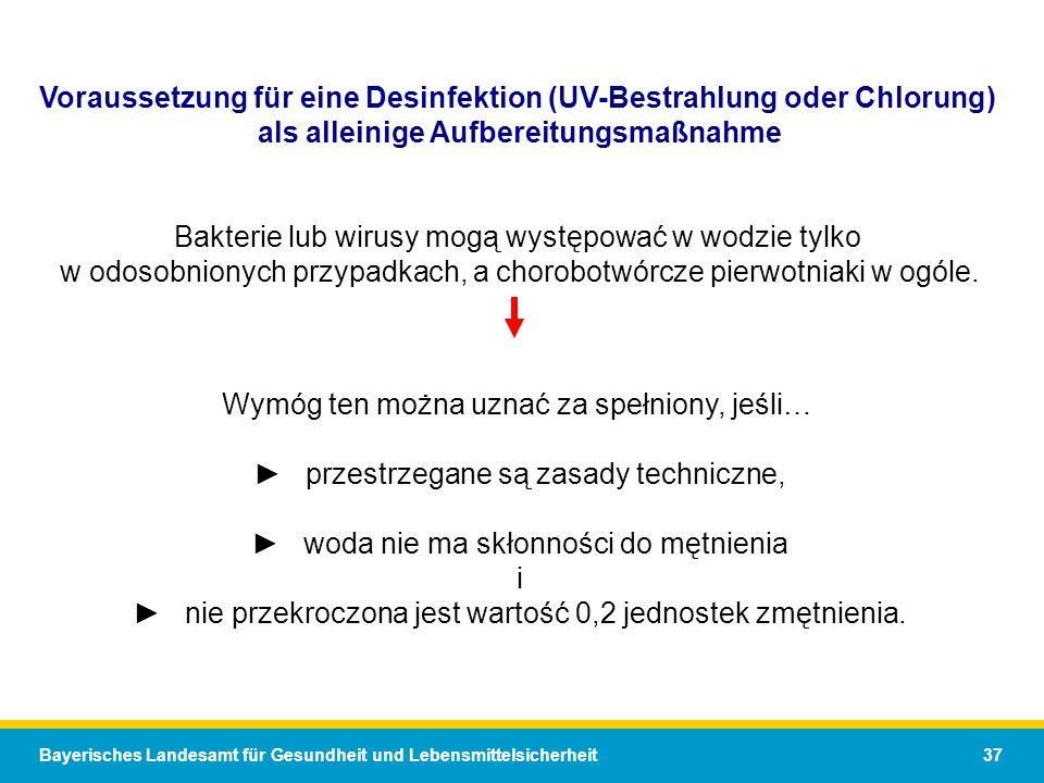 Voraussetzung für eine Desinfektion (UV-Bestrahlung oder Chlorung)