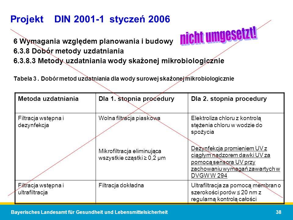 nicht umgesetzt! Projekt DIN 2001-1 styczeń 2006