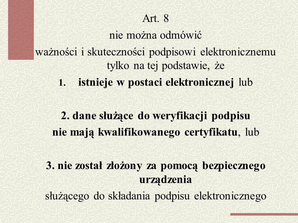 2. dane służące do weryfikacji podpisu