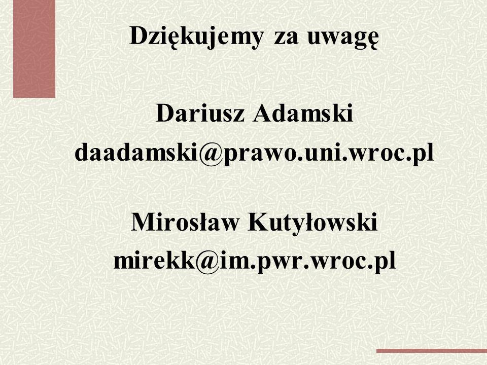 Dziękujemy za uwagę Dariusz Adamski daadamski@prawo. uni. wroc