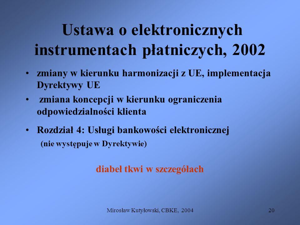 Ustawa o elektronicznych instrumentach płatniczych, 2002