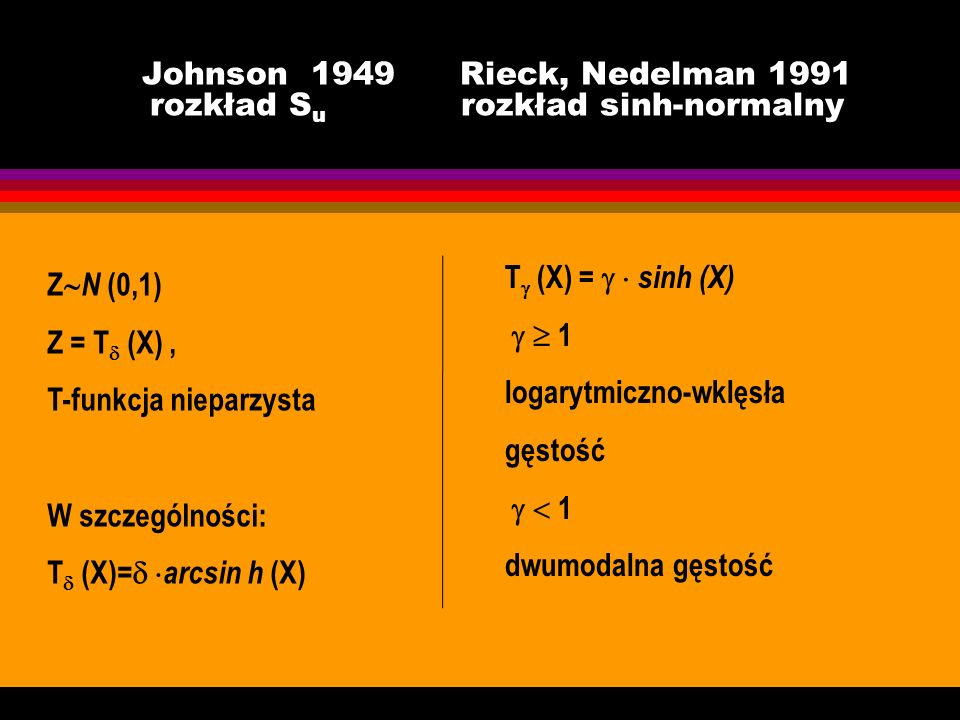 Johnson 1949 Rieck, Nedelman 1991 rozkład Su rozkład sinh-normalny