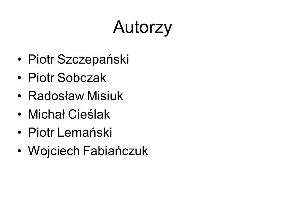 Autorzy Piotr Szczepański Piotr Sobczak Radosław Misiuk Michał Cieślak