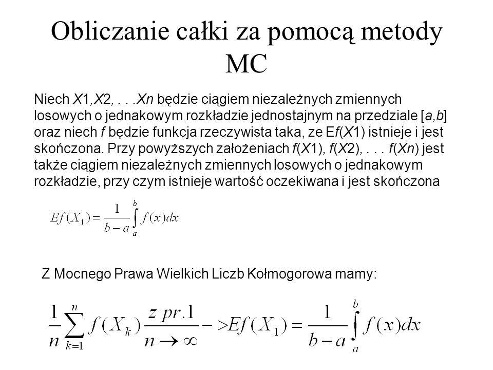Obliczanie całki za pomocą metody MC