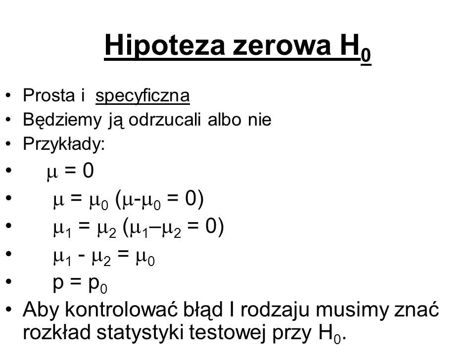 Hipoteza zerowa H0  = 0  = 0 (-0 = 0) 1 = 2 (1–2 = 0)