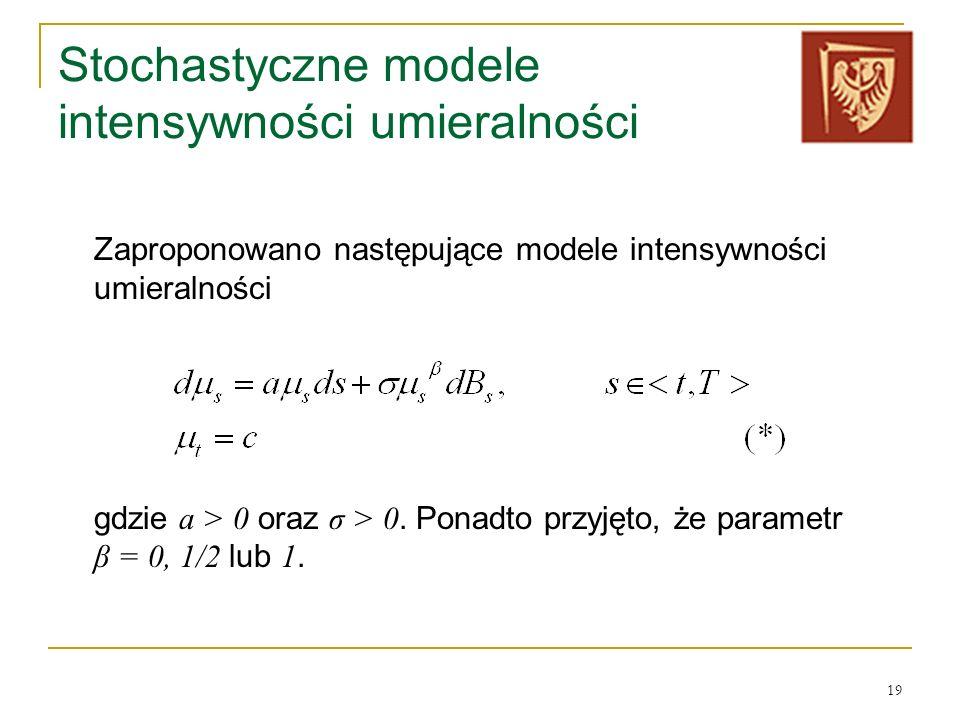 Stochastyczne modele intensywności umieralności